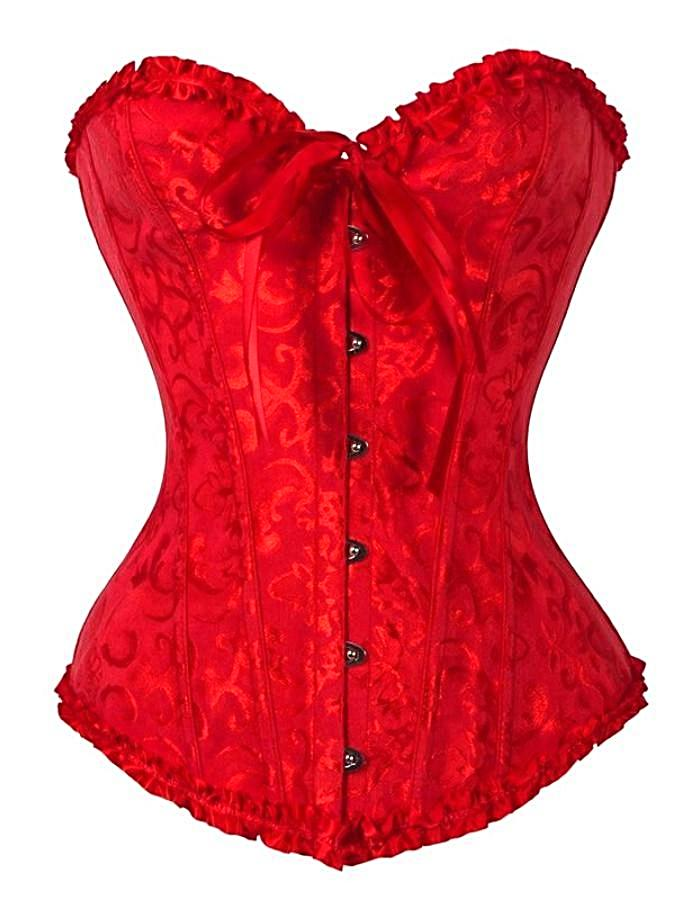 Women's Red Victorian Ruffled Lace Corset, INstyle fashion