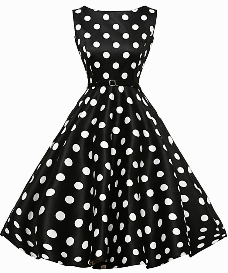 Women's Black With White Polka Dot Vintage Dress, INstyle fashion