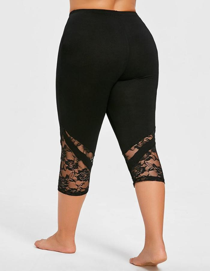 Women's Black Lace Mid Calf Plus Size Leggings, INstyle fashion