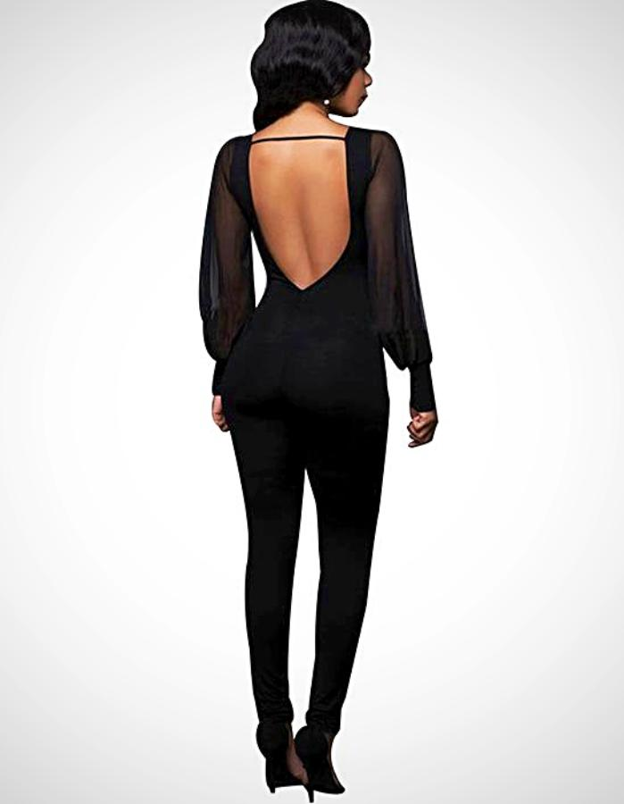 Women's Black Backless Jumpsuit, INstyle fashion