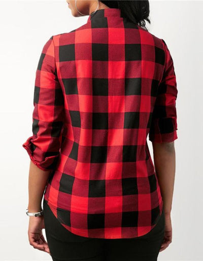 Women's Red Plaid Lace Up Shirt, INstyle fashion