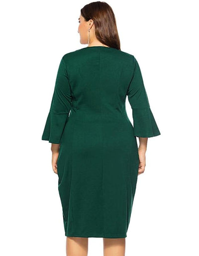 Women\'s Green Bell Flare Plus Size Midi Dress, INstyle fashion ...