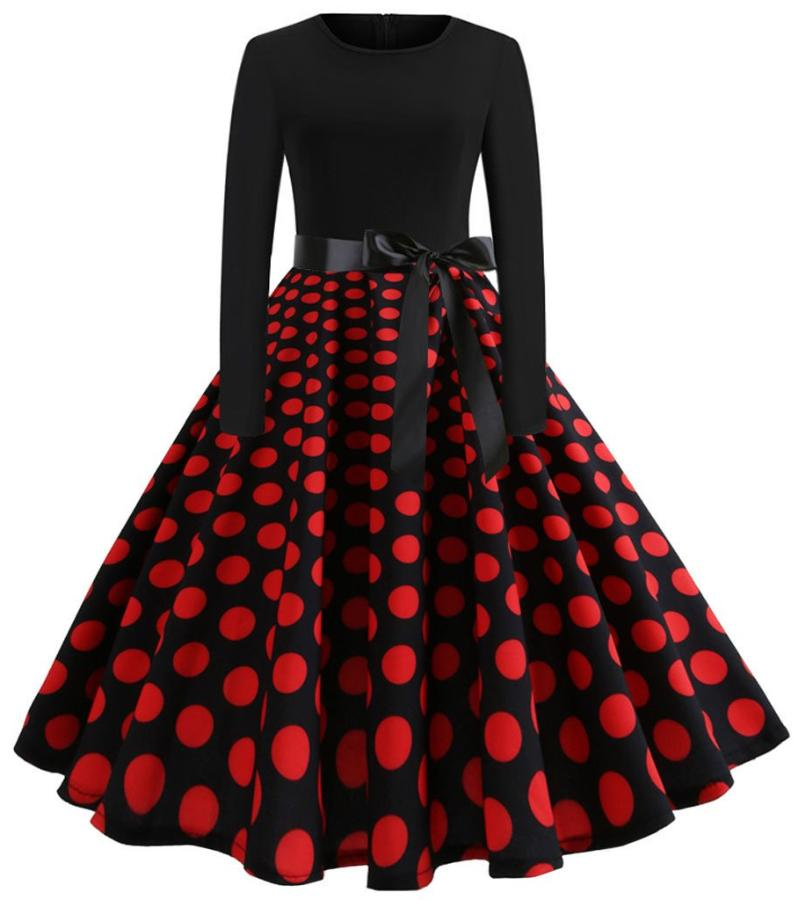 Women's Black Long Sleeve Red Polka Dot Vintage Dress, INstyle fashion