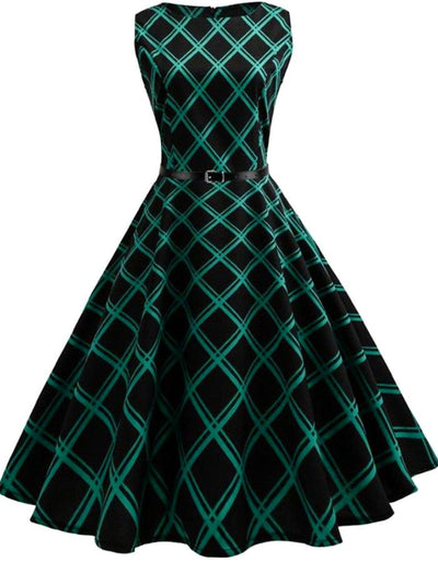 Women's Green And Black Plaid Vintage Dress, INstyle fashion