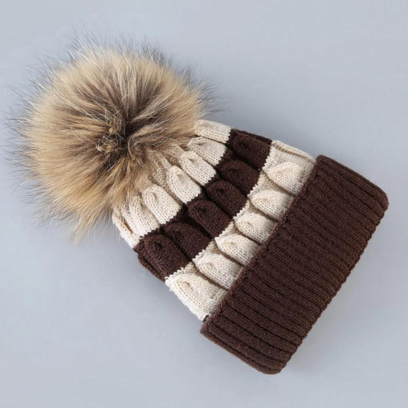 Women's Cream And Brown Striped Knit Beanie With Fur, INstyle fashion