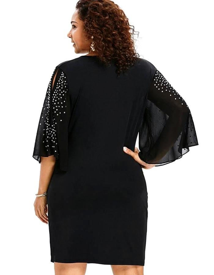 Women's Black Rhinestone Sleeve Plus Size Dress, INstyle fsahion