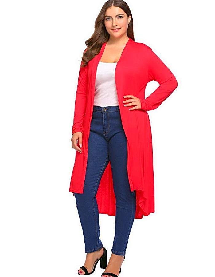 Women's Red Long Cardigan Sweater, INstyle fashion