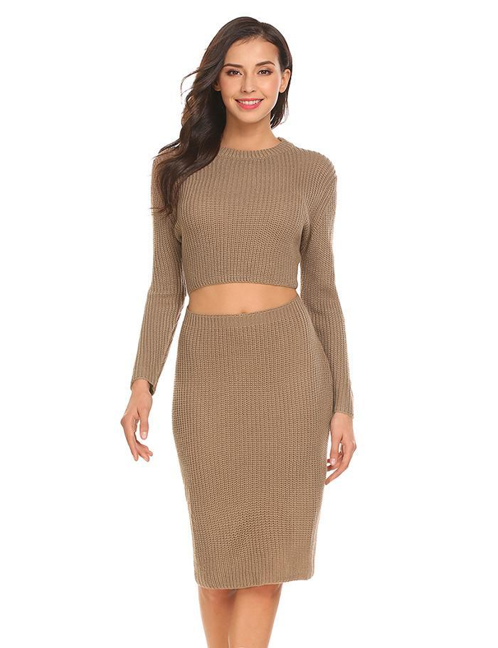 Women's Brown Hollow Out Midi Sweater Dress, INstyle fashion