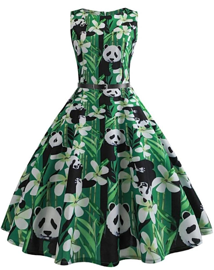 Women's Panda Climbing Bamboo Vintage Dress