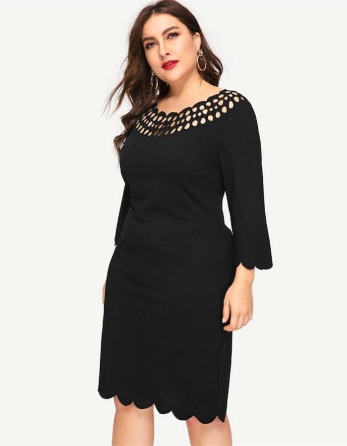 Women's Black Scalloped Plus Size Midi Dress