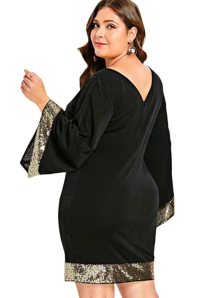 Women\'s Black Plus Size Dress With Gold Sequin Trim, INstyle fashion ...