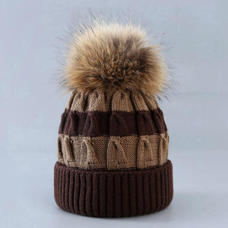 Women's Brown Striped Knit Beanie With Fur, INstyle fashion