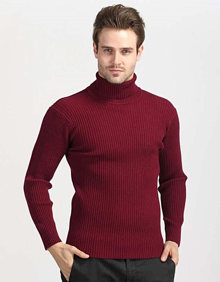 Men's Red Classic Turtleneck Sweater, INstyle fashion