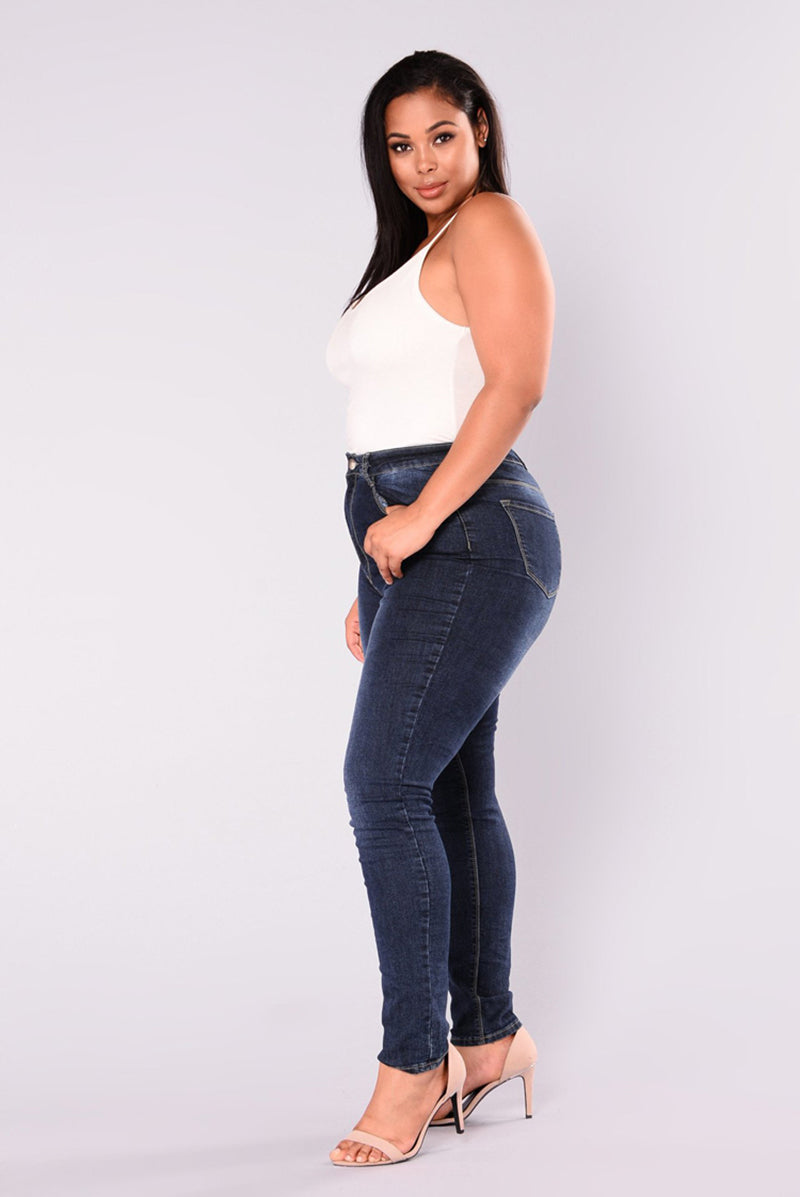 Women's Dark Blue Denim Plus Size Jeans, INstyle fashion