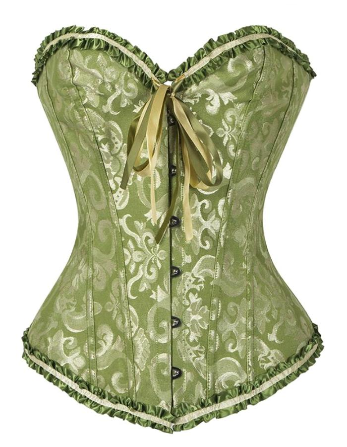 Women's Green Victorian Ruffled Lace Corset, INstyle fashion