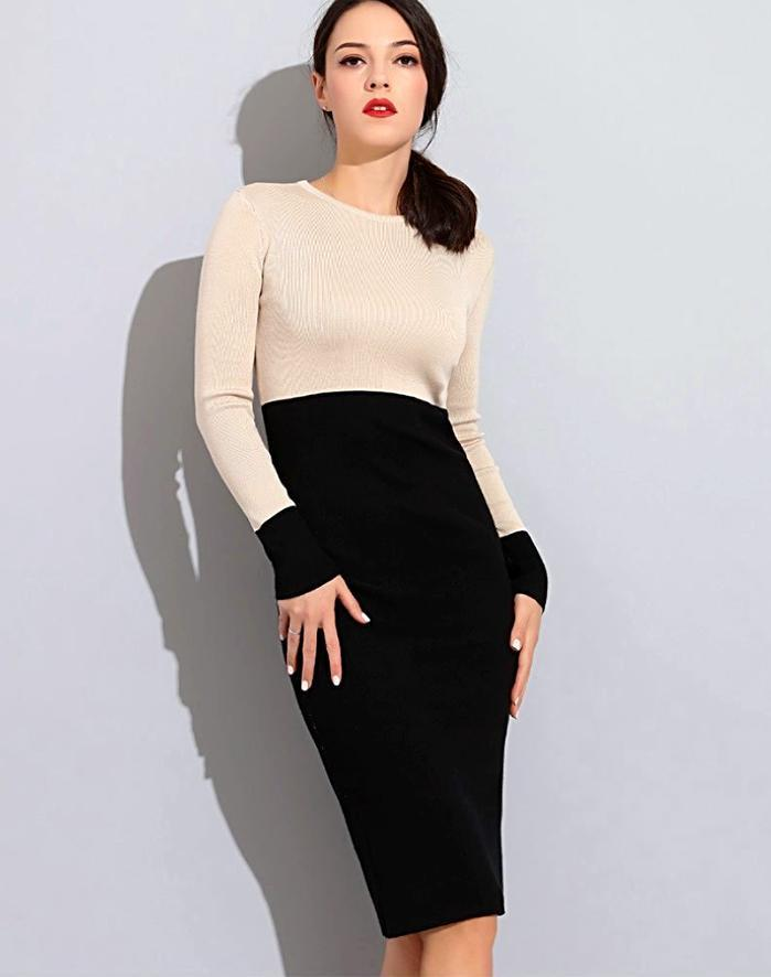 Women's Beige And Black High Waist Sweater Dress, INstyle fashion