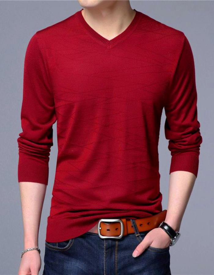 Men's Red Pullover V-Neck Sweater, INstyle fashion