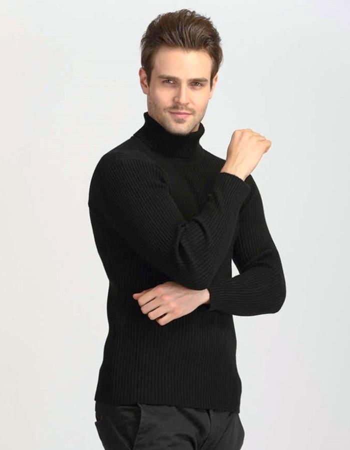 Men's Black Turn Down Turtleneck Sweater, INstyle fashion