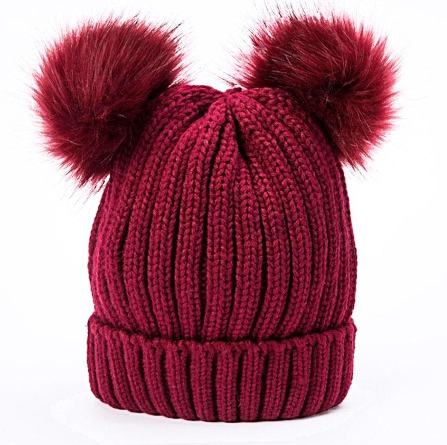 Women's Dark Red Double Pom Pom Knit Beanie, INstyle fashion
