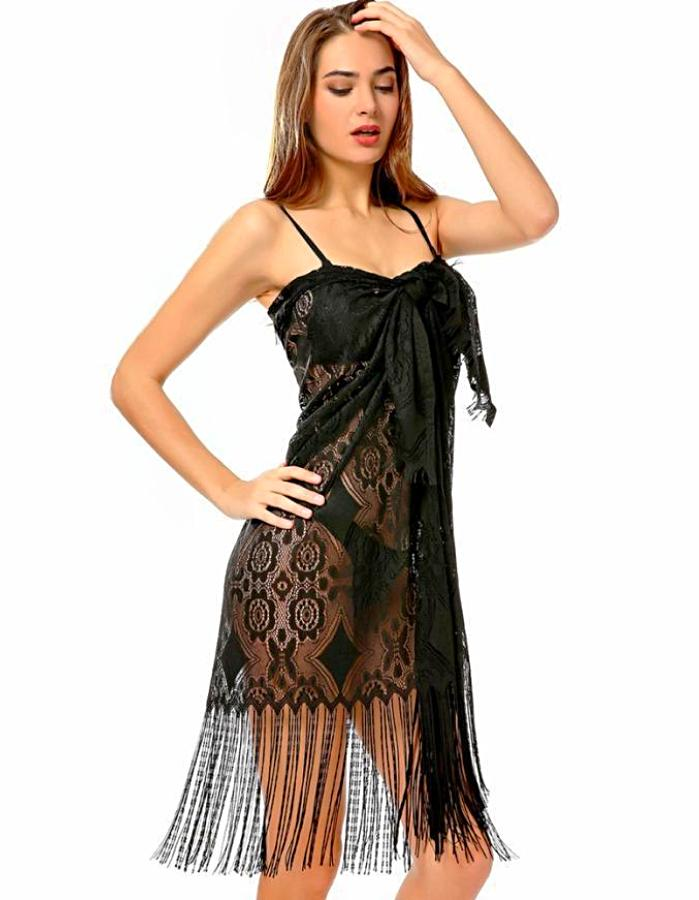 Women's Black Lace Fringe Beach Cover Up, INstyle fashion