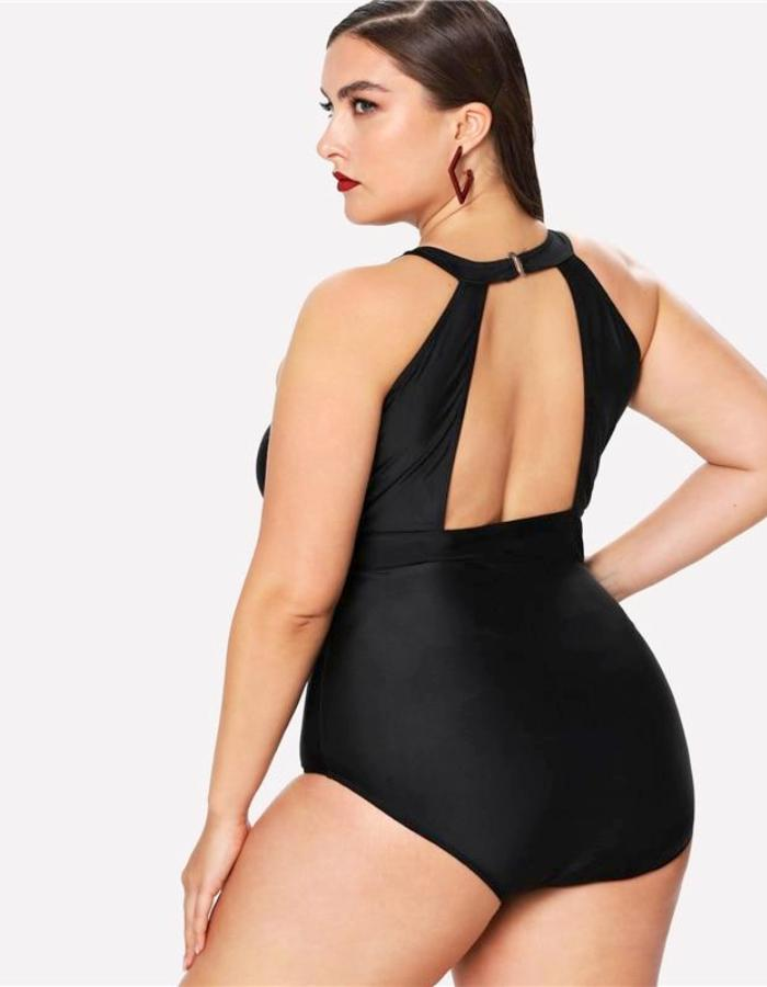 Women's Black Mesh Insert Plus Size Swimwear