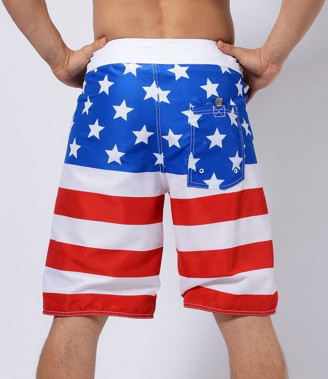 Men's Red, White And Blue Flag Long Board Shorts, INstyle fashion