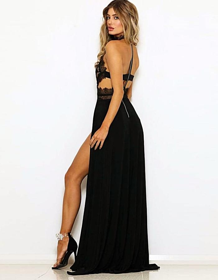 Women's Black High Split Halter Evening Dress, INstyle fashion