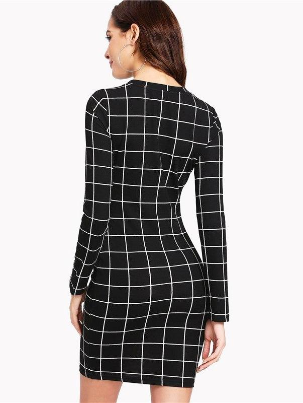Women's Black And White Window Pane Mini Dress, INstyle fashion