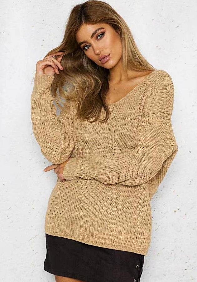 Women's Tan Twisted Backless Sweater, INstyle fashion
