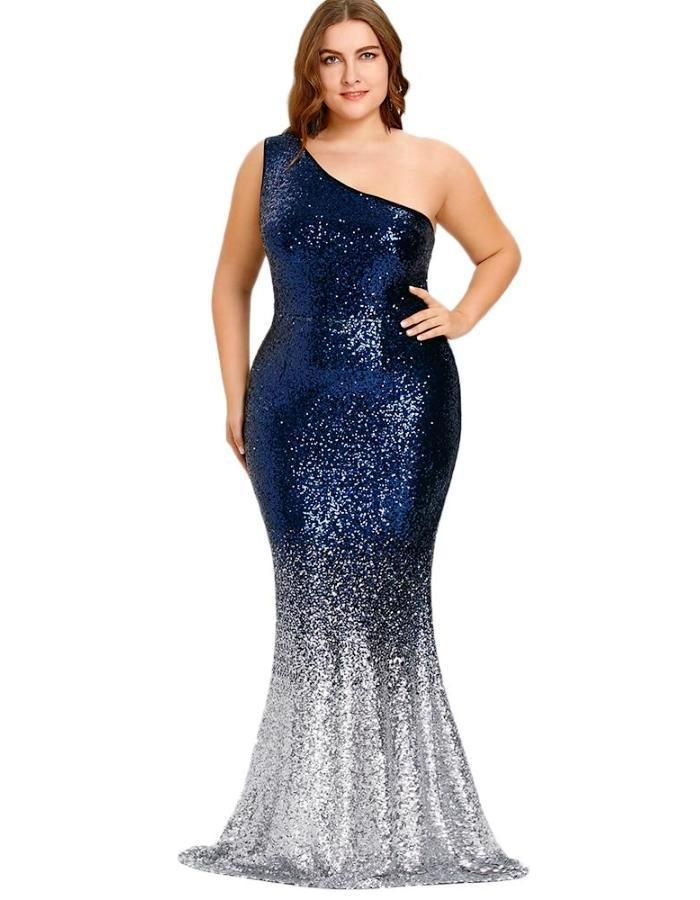 Women's Blue Fade Silver Plus Size Mermaid Dress, INstyle fashion