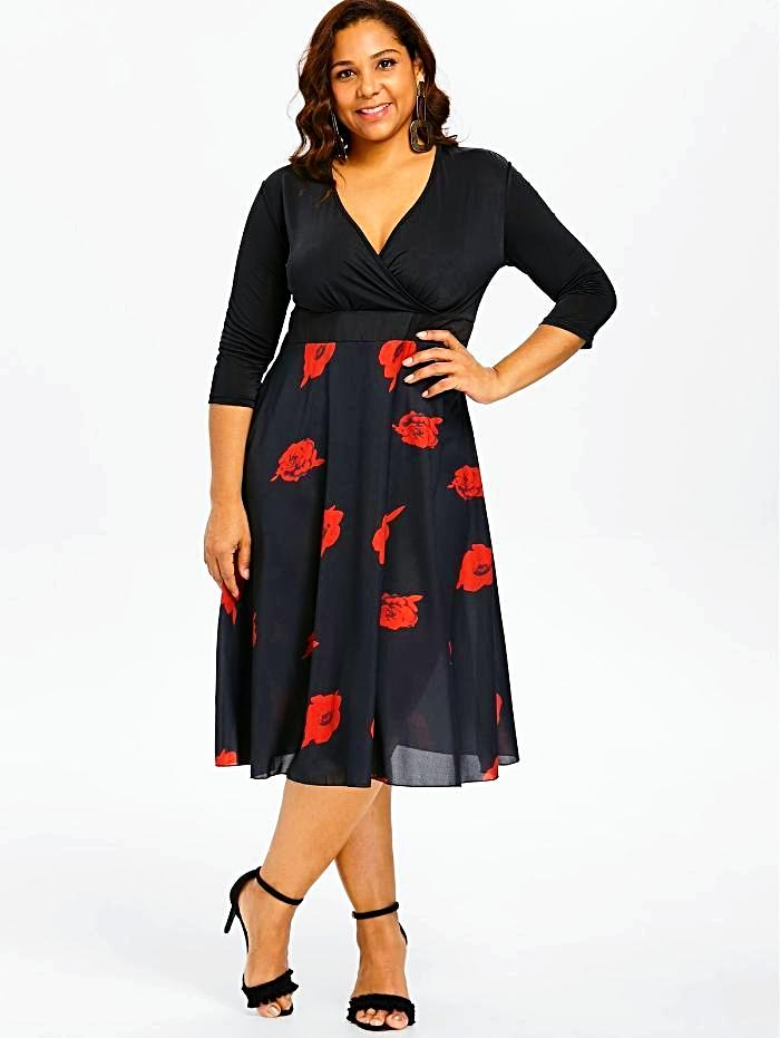 Women's Black Floral Flowing Plus Size Dress, INstyle fashion