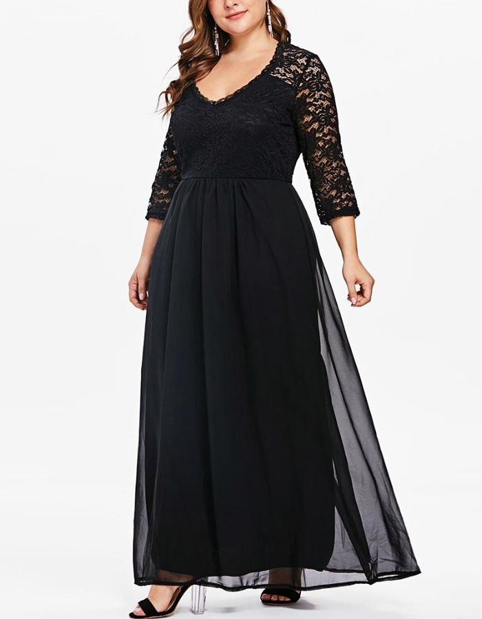 Women's Black Lace Plus Size Long Dress, INstyle fashion