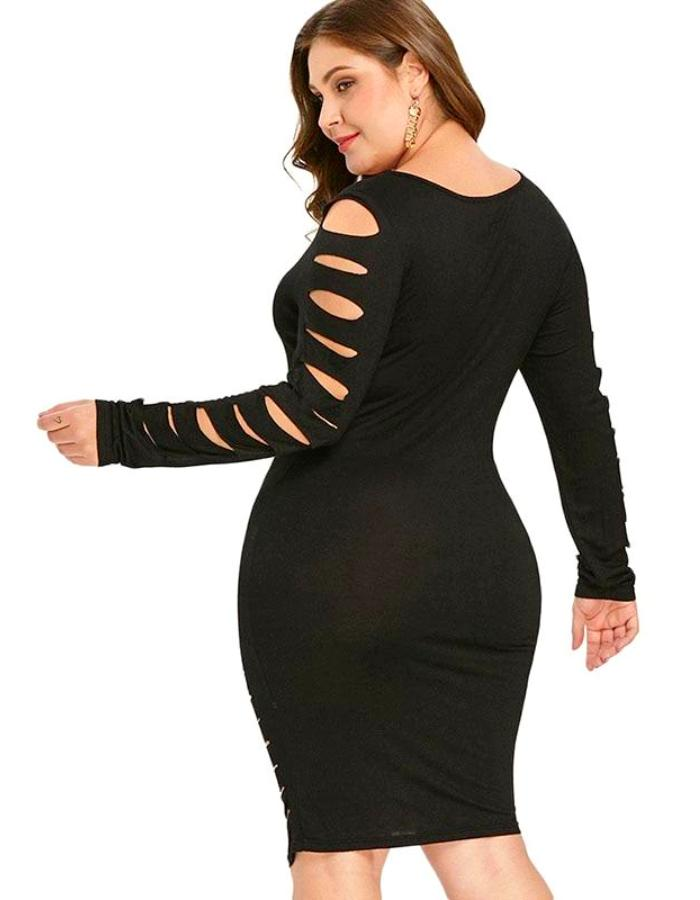 Women's Black Cut Out Plus Size Dress, INstyle fashion