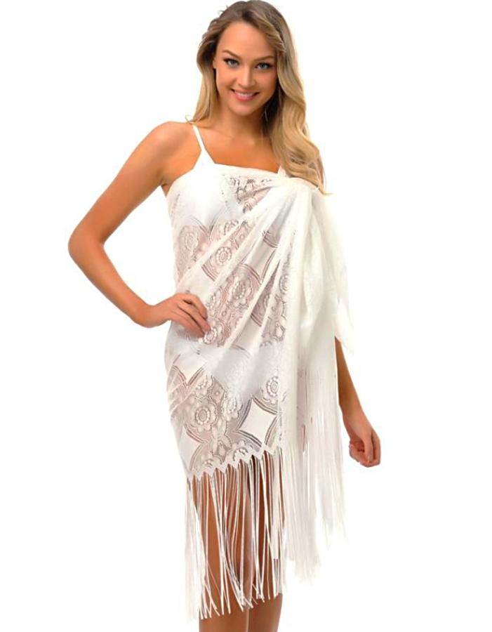 Women's White Lace Fringe Beach Cover Up, INstyle fashion