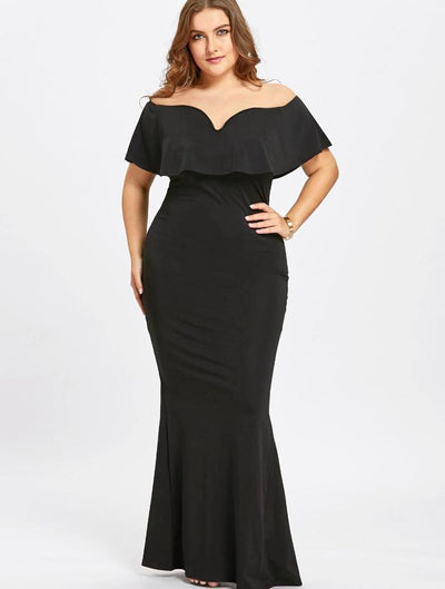 Women's Black Ruffle Off Shoulder Plus Size Dress, INstyle fashion