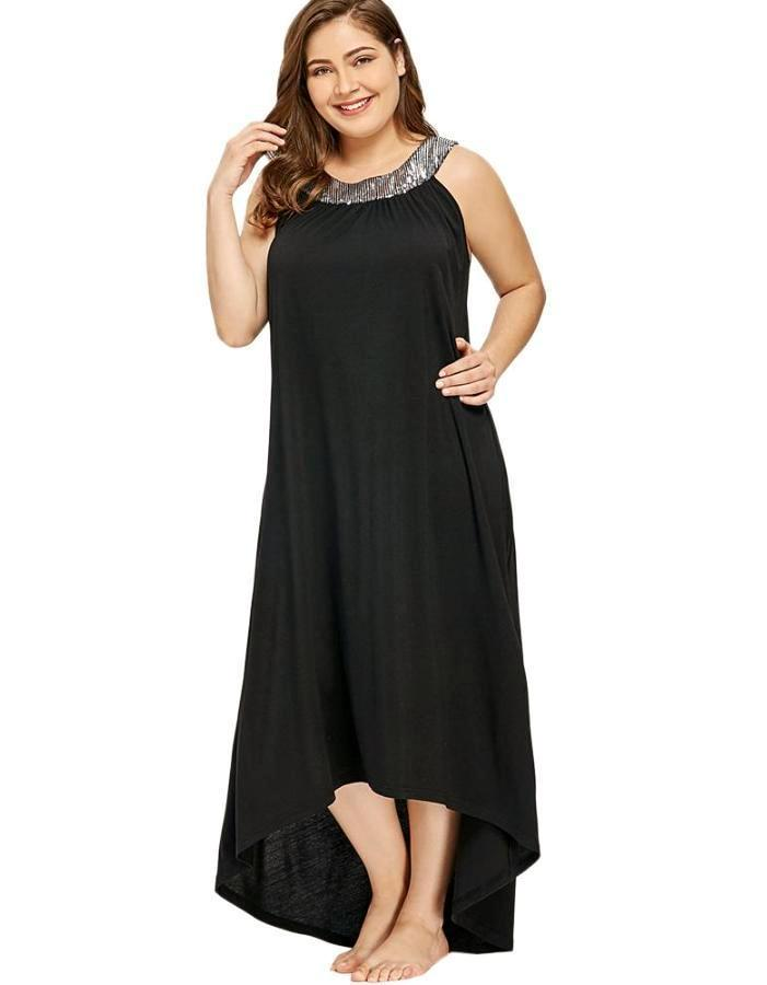 d91fcb452bf66 Women's Black Sequin Collar Plus Size Cover Up, INstyle fashion