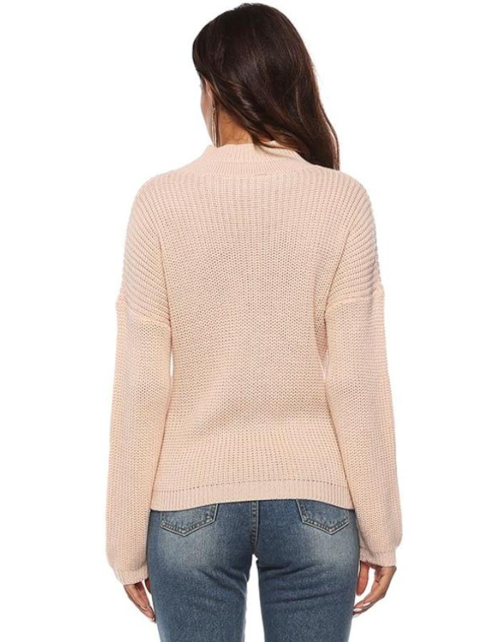 Women's Beige Plunging V-Neck Crossover Sweater, INstyle fashion