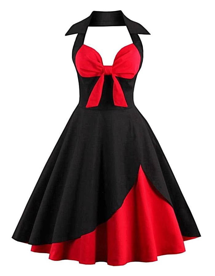 Women's Black And Red Halter Vintage Dress