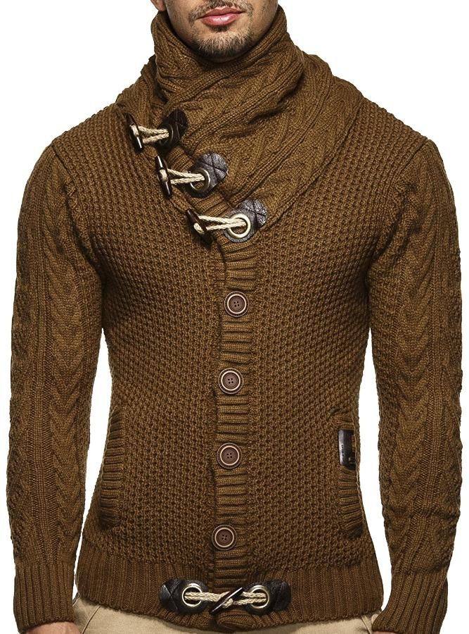Men's Brown Shawl Turtleneck Sweater, INstyle fashion