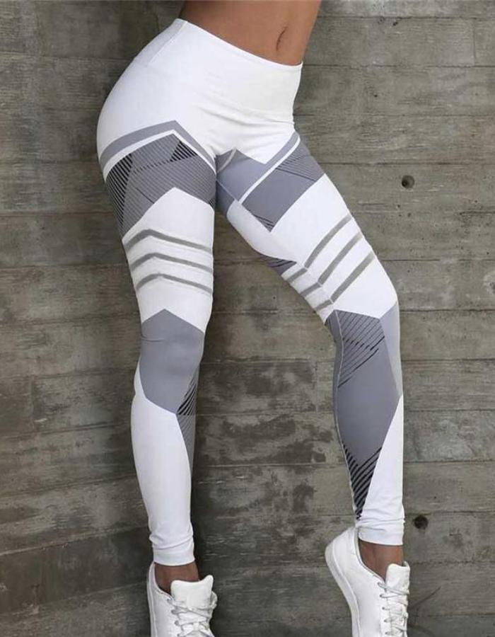 Women's White Sports Bra And Geometric Leggings Set, INstyle fashion