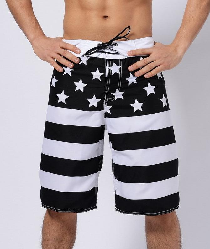 Men's Black And White Flag Long Board Shorts, INstyle fashion