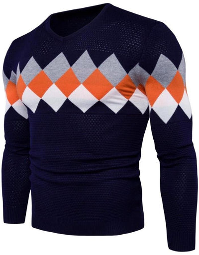 Men's Navy Blue Diamond Sweater, INstyle fashion
