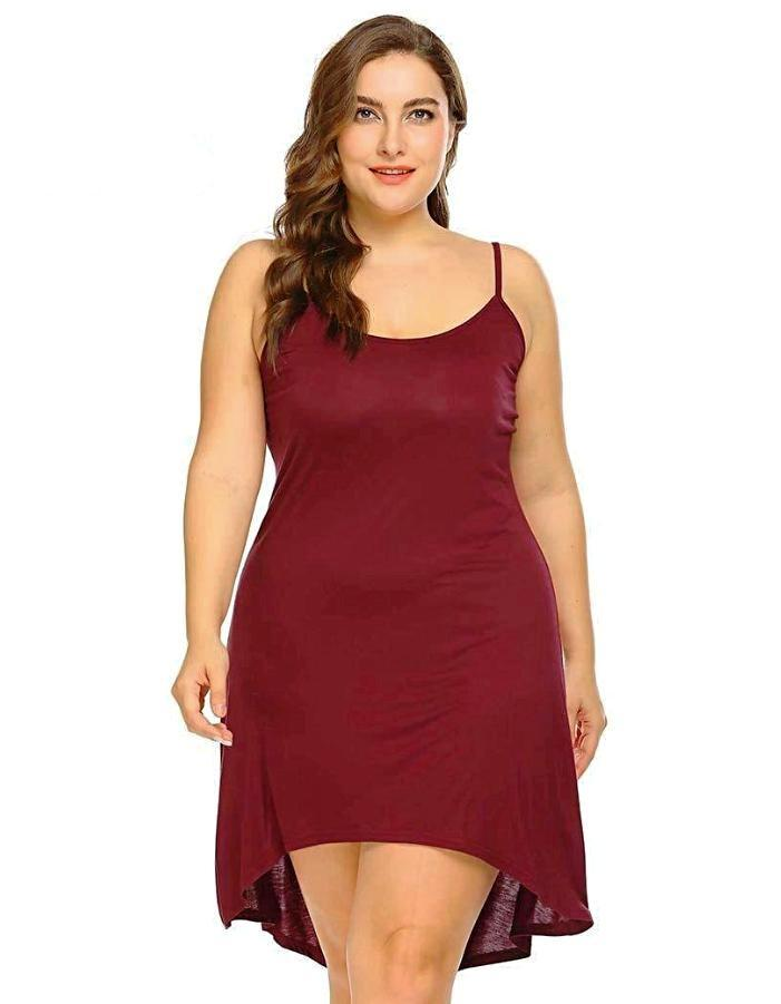 Women's Dark Red High Low Plus Size Nightdress, INstyle fashion