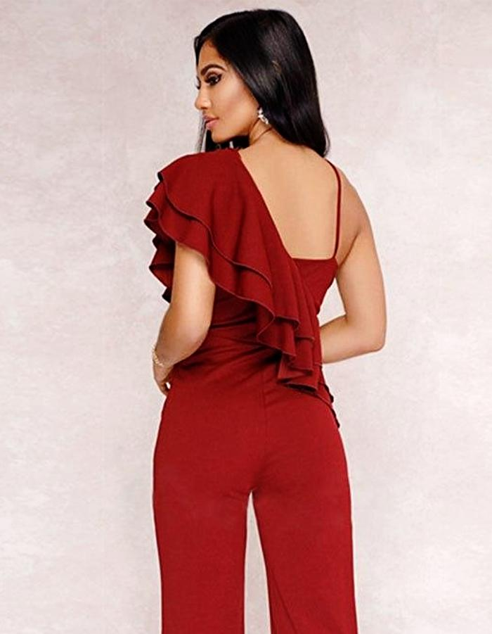 Women's Red Ruffle Shoulder Jumpsuit, INstyle fashion