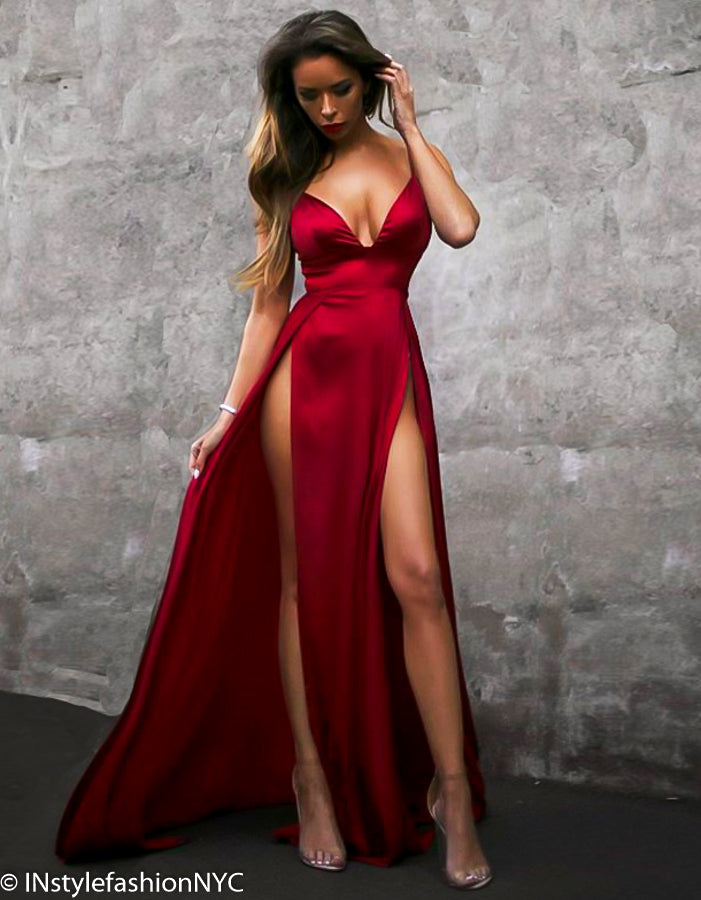 Women's Red High Split Dress, INstyle fashion