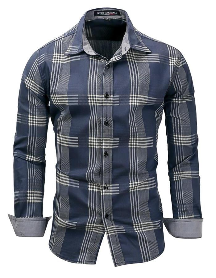 Men's Blue And Beige Plaid Long Sleeve Shirt, INStyle fashion
