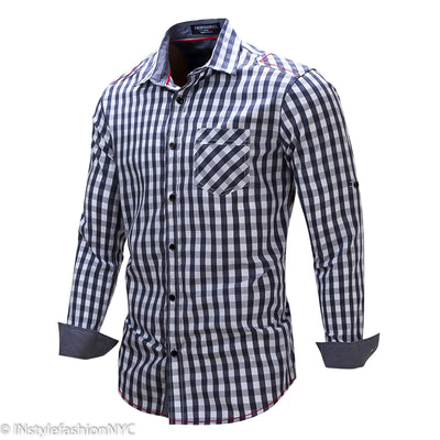 Men's Dark Blue And White Checkered Long Sleeve Shirt, INstyle fashion
