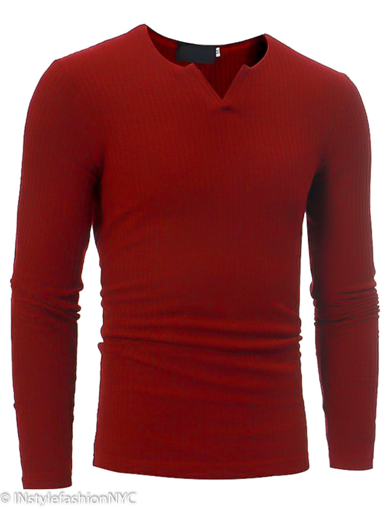 Men's Red Fitted Long Sleeve V-Neck Shirt, INstyle fashion