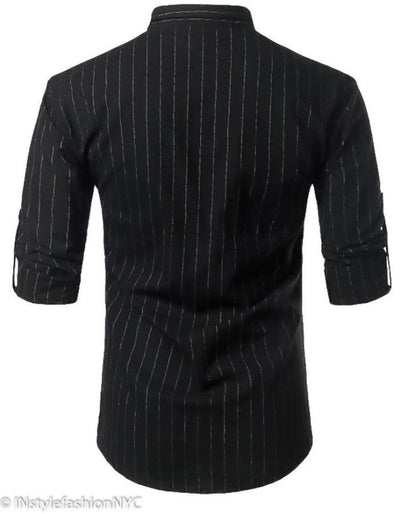 Men's Black Pin Striped Long Sleeve Shirt, INstyle fashion