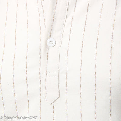 Men's White Pin Striped Long Sleeve Shirt, INstyle fashion